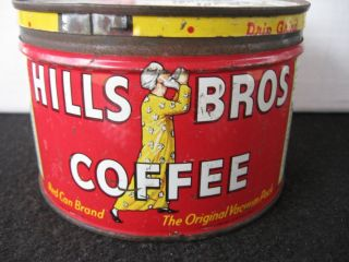 Vintage Hills Bros Coffee Tin Key Wind orig lid Cannon towel offer on