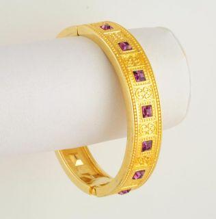 Warmth of 14kt Gold Ep Purple Crystal Hinged Bangle Bracelet