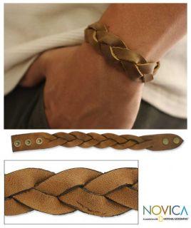 Honey~~Mens Brown Artisan Handmade Braided Leather Bracelet~~Novica