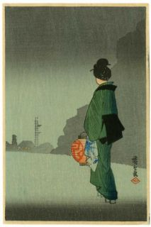 HIROSHIGE   Japanese Woodblock Print WOMAN WALKING AT NITE 1930s