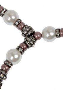 Oscar de la Renta Crystal and faux pearl multi chain necklace   64% Off