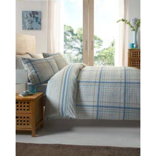 BLUE CREAM REVERSIBLE STRIPED TWIN COTTON DUVET SET QUILT