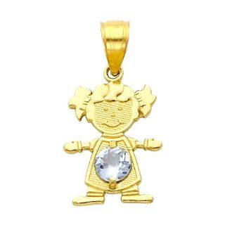 14K Yellow Gold March CZ Birthstone Girl Charm Pendant for