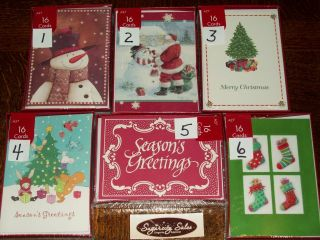 Paper Magic Holiday Christmas Cards enV 16 Ct Boxed Tree Snowman Santa