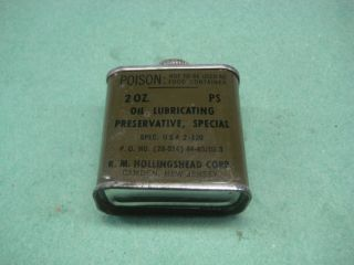 WWII ERA U S MILITARY RIFLE OIL 2oz size R M HOLLINGSHEAD CORP