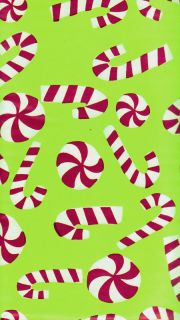 Christmas Candy Canes Vinyl Tablecloth Red White Green Holiday Table