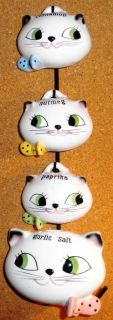RARE 1959 Holt Howard Cat Cozy Kitten Spice Set w/ Metal Rack and