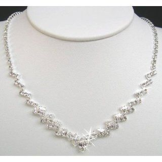 Crystal Necklace Set for Bridal Wedding Prom Pageant N1Y37
