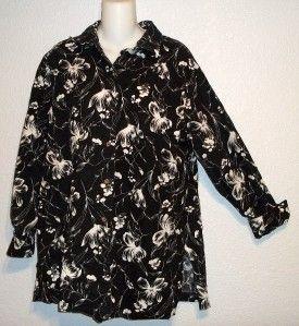 Harve Benard Black w White Floral Print Button Front Blouse Shirt Plus
