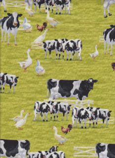 Holstein Dairy Cow Farm Rooster Kitchen Curtain Valance