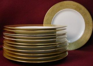 china GOLD ENCRUSTED hut1403 pattern SET OF 12 SERVICE PLATES