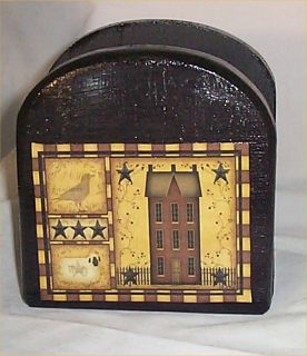 Primitive Solid Wood Napkin Holder Country Kitchen Home decor