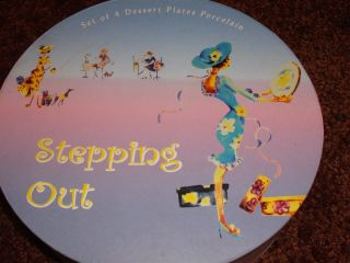 HOME ESSENTIALS STEPPING OUT DESSERT PLATES (PORCELAIN) boxed gift