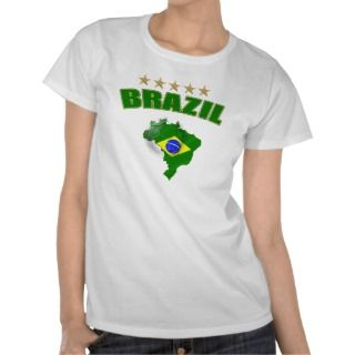Map of Brazil Soccer Ball Brazil Brazilian flag T Shirts