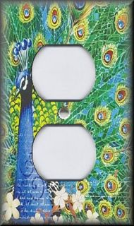 Light Switch Plate Cover Floral Peacock Bird Home Decor