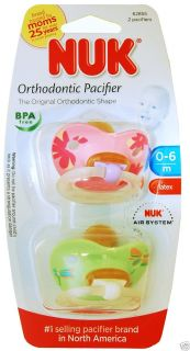 NUK 2 Orthodontic Latex Pacifiers 0 6 Months BPA FREE Pink Green Baby