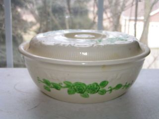Vintage Homer Laughlin Cream Green Floral Casserole Dish Oven Serve