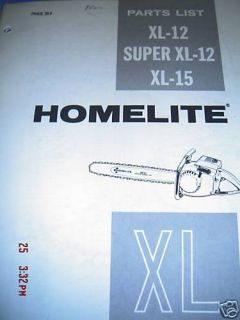 Homelite XL 12 Super XL 12 XL 15 Lustrated Parts List