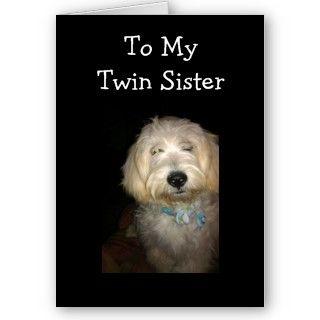 TWIN SISTER BIRTHDAY HUMOR GREETING CARD