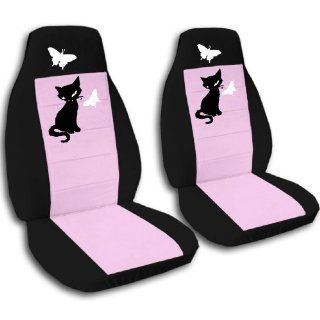 Black and Sweet Pink Kitten seat covers for a 2005 to 2010 Jeep