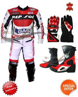 Honda Repsol Full Suit motorbike Leather Jacket Trouser Shoes Gloves