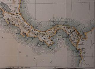 Guatemala Honduras Nicaragua Costa Rica Panama Indian Tribes 1874 Map