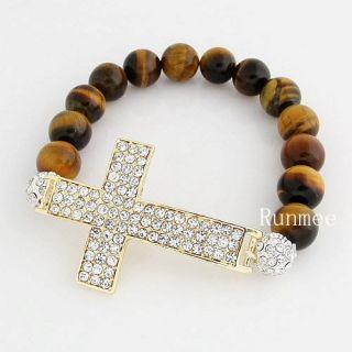Beads Crystal Pave Gold Sideway Cross Honesty Stretch Bracelets
