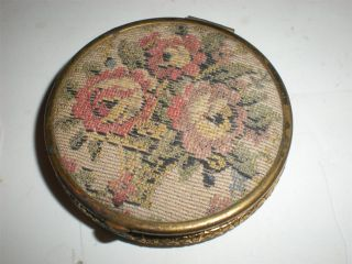 Vintage Rouge Powder Coty Lentheric Needlepoint Compact Mirror Free