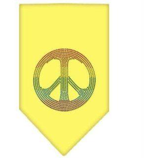 Rainbow Peace Sign Rhinestone Bandana Yellow Small (24