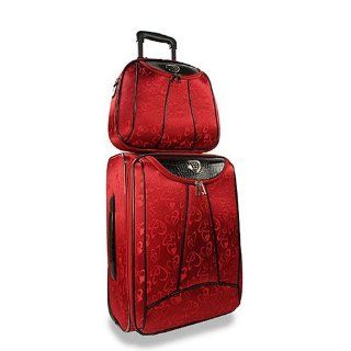 Red 2 Piece Heart Accent Rolling Travel Bag Set    Not