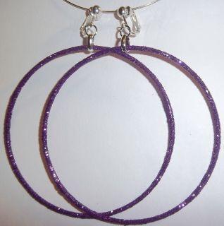 Clip on 3 25 Purple Glitter Thin Large Hoop Earrings J333 Juicebox
