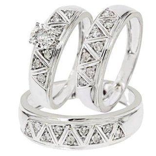 1/2 Carat Diamond Trio Wedding Ring Set 10K White Gold