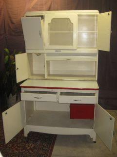 Original 1920s Antique Hoosier Kitchen Cabinet with Floor Bin Tin