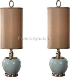 PORCELAIN Ceramic LIGHT BLUE TABLE Lamp PAIR Set Tall HORCHOW Buffet
