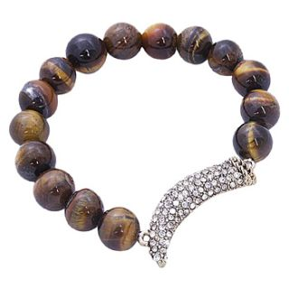 Horn Corno Evil Eye Good Luck Charm CZ Crystal Beaded Stretch Bracelet