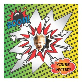 Comic Book Superhero Birthday Party Photo Card Custom Invite