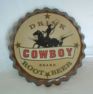Pop Bottle Top Cap COWBOY Wall CLOCK Hat HORSE Lasso STARS AA Battery