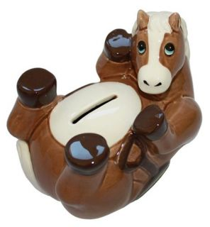 Ceramic Horse Pony Design Piggy Bank Money Box Kids Horsey Gift