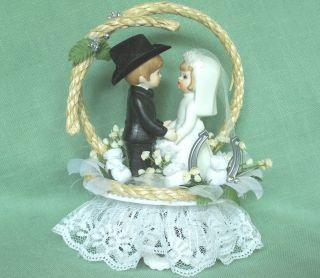 Cowboy Wedding Cake Topper w Young Bride Groom Rope Horseshoe