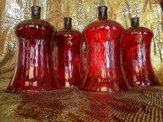 Huge Home Interior 5 Ruby Red Votive Cup Candle Holders or Sconces