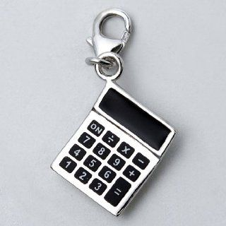 925 Sterling Silver Charm Pendant Enamel Calculators