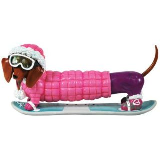 Pink Parka Snowboarder Diggity Dachshund Dog Figurine