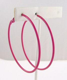 Retro Hot Pink Enamel Hoop Earrings