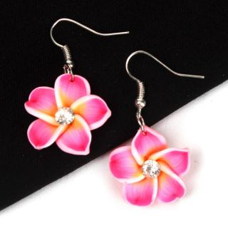 Hot Pink Flower Clay Floral Hawaiian Rhinestone Earring