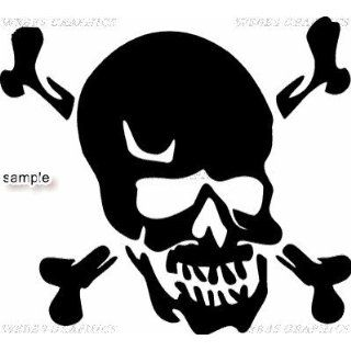 CROSSBONES WITH BIG SKULL HEAD SKULL 11 WHITE VINYL DECAL