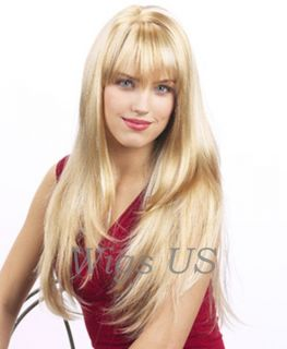 Wigs Sexy Golden Blonde Highlights Extra Long Skin Part Wig
