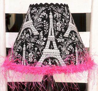 Child Lamp Shade Michael Miller Eiffel Tower Black White Hot Pink