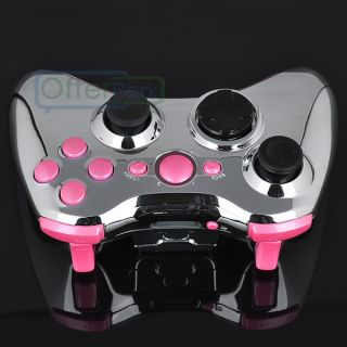 Silver Full Shell Polished Pink Buttons for Xbox 360 Controller