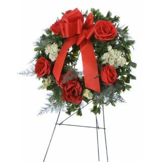 Handmade Memorial Cemetery Silk Flower Arrangement   Red