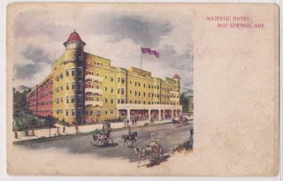 1900s Hot Springs National Park AR Postcard Majestic Hotel Undivided